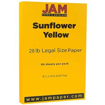 JAM Paper® Cardstock, 8 1/2 x 14, 80lb Basis Sunflower Yellow, 50/PK