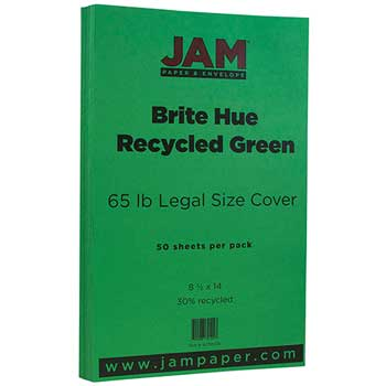 Cardstock, 8 1/2 x 14, 65lb, Recycled Brite Hue Green, 50/PK