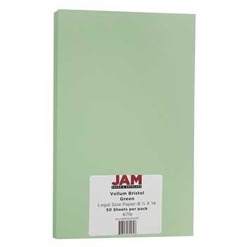 JAM Paper® Vellum Bristol Cardstock, 8 1/2 x 14, 67lb Green, 50/PK