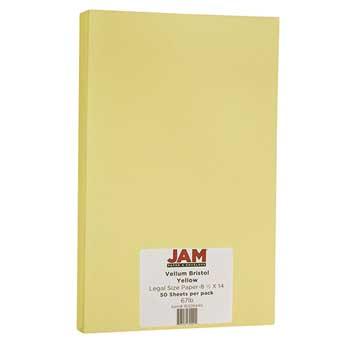 JAM Paper Vellum Bristol Cardstock, 8 1/2 x 14, 67lb Yellow, 50/PK