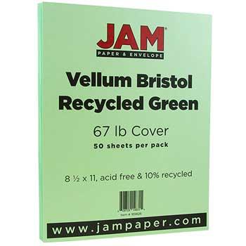 JAM Paper® Vellum Bristol Cardstock, 8 1/2 x 11, 67lb Green, 50/PK