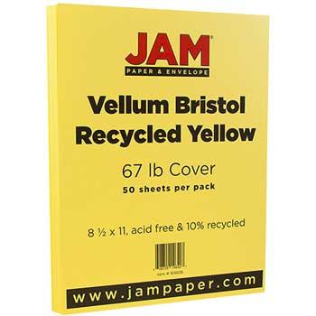 JAM Paper Vellum Bristol Cardstock, 8 1/2 x 11, 67lb Yellow, 50/PK