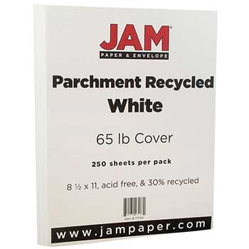 JAM Paper® Recycled Parchment Cardstock, 8 1/2 x 11, 65lb White, 250/RM