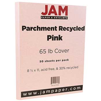 Recycled Parchment Cardstock, 8 1/2 x 11, 65lb Pink, 50/PK