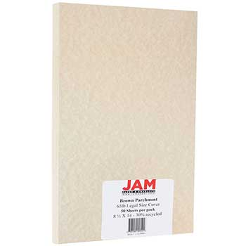JAM Paper Recycled Parchment Cardstock, 8 1/2 x 14, 65lb Brown, 50/PK