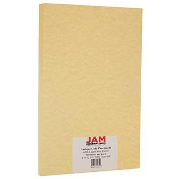 JAM Paper Recycled Parchment Cardstock, 8 1/2 x 14, 65lb Antique Gold, 50/PK
