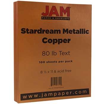JAM Paper Colored Paper, 8 1/2 x 11, 80lb Text, Stardream Metallic Copper, 100/PK