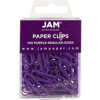 JAM Paper® Paperclips, Regular Size, Purple, 100/Pack