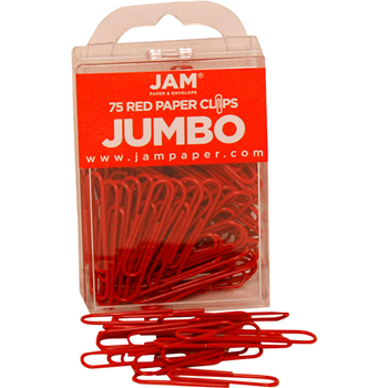 JAM Paper® Paperclips, Jumbo Size, Red, 75/Pack