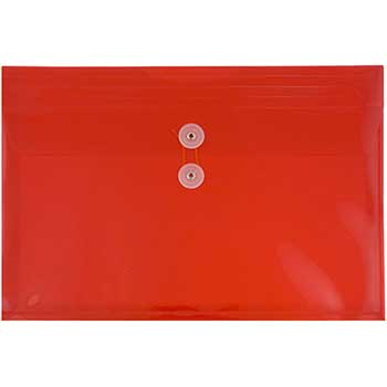 """JAM Paper® Plastic Envelopes with Button & String Tie Closure, Letter Booklet, 9 3/4"""" x 13"""", Red, 12/PK"""