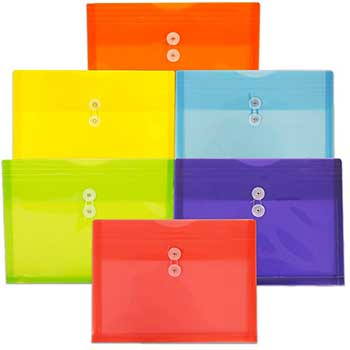 "JAM Paper® Plastic Envelopes with Button & String Tie Closure, Letter Booklet, 9 3/4"" x 13"", Assorted Primary Colors, 6/PK"