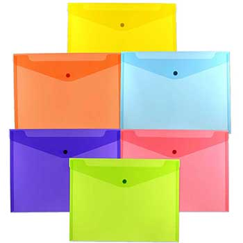 "JAM Paper® Plastic Envelopes with Snap Closure, Letter Booklet, 9 3/4"" x 13"", Assorted Colors, 6/PK"