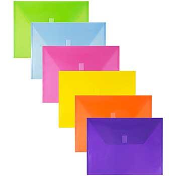"JAM Paper Plastic Envelopes with Hook & Loop Closure, Letter Booklet, 9 3/4"" x 13"", Assorted, 12/BX"