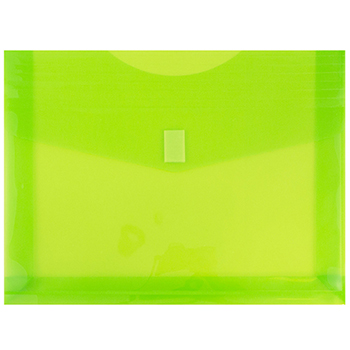 "Plastic Expansion Envelopes with Hook & Loop Closure, Letter Booklet, 9 3/4"" x 13"", Lime Green, 12/PK"