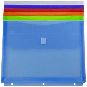 """JAM Paper Plastic 3 Hole Punch Envelopes with Hook & Loop Closure, 8 5/8"""" x 11 1/2"""" with 1"""" Expansion, Assorted, 12/BX"""