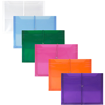 """Plastic Expansion Envelopes with Elastic Band Closure, Letter Booklet, 9 3/4"""" x 13"""", Assorted Colors, 12/PK"""