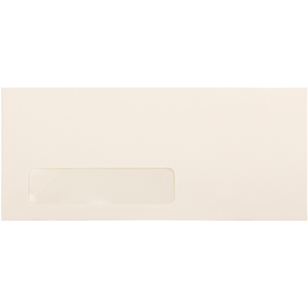 "#10 Business Strathmore Window Envelopes, 4 1/8"" x 9 1/2"", Ivory Wove, 500/BX"