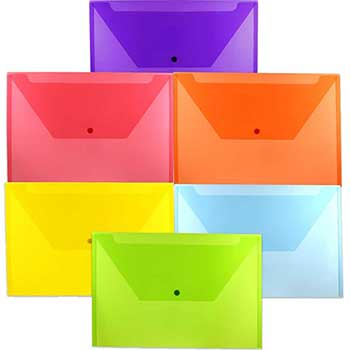 """Plastic Envelopes with Snap Closure, Legal Booklet, 9 3/4"""" x 14 1/2"""", Assorted Colors, 6/PK"""