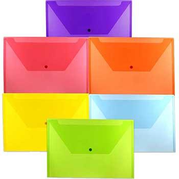 "JAM Paper Plastic Envelopes with Snap Closure, Legal Booklet, 9 3/4"" x 14 1/2"", Assorted Colors, 6/PK"