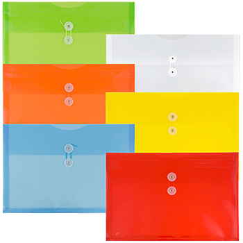 """JAM Paper Plastic Envelopes with Button & String Tie Closure, Legal Booklet, 9 3/4"""" x 14 1/2"""", Assorted Primary Colors, 12/PK"""