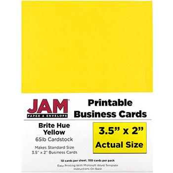 "JAM Paper® Printable Business Cards, 3 1/2"" x 2"", Brite Hue Yellow, 100/PK"