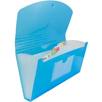 """JAM Paper Accordion Folders, 13-Pocket Plastic Expanding File with Button & String Closure, Check Size, 5"""" x 10 1/2"""", Blue"""