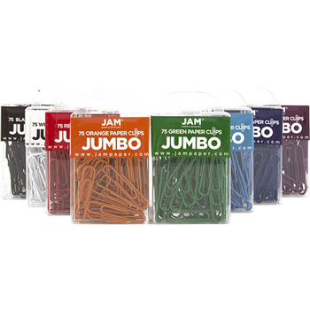 JAM Paper Paperclips, Jumbo Size, Assorted, 10/Pack