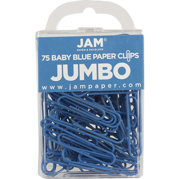 JAM Paper Paperclips, Jumbo Size, Baby Blue, 75/Pack