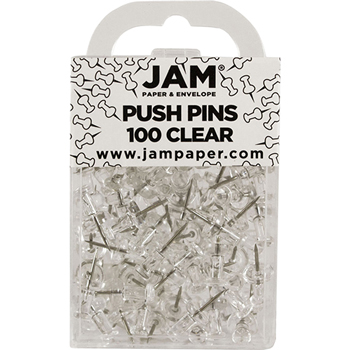 Pushpins, Clear, 100/Pack