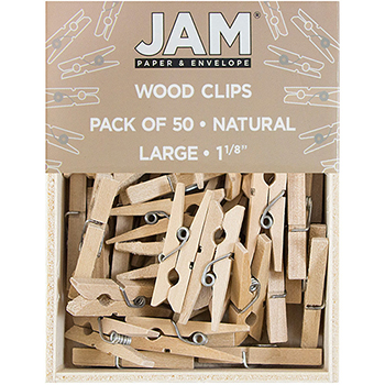 "JAM Paper® Wood Clothespins, 1 1/8"", Natural Brown, 50/PK"