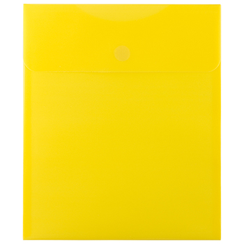 "JAM Paper® Plastic Expansion Envelopes with Hook & Loop Closure, Letter Open-End, 9 3/4"" x 11 1/2"", Yellow, 12/PK"