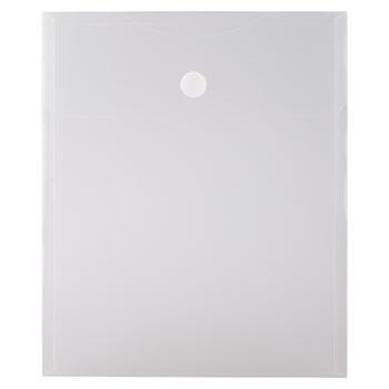"JAM Paper® Plastic Expansion Envelopes with Hook & Loop Closure, Letter Open-End, 9 3/4"" x 11 1/2"", Clear, 12/PK"