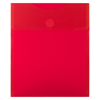 """Plastic Expansion Envelopes with Hook & Loop Closure, Letter Open-End, 9 3/4"""" x 11 1/2"""", Red, 12/PK"""