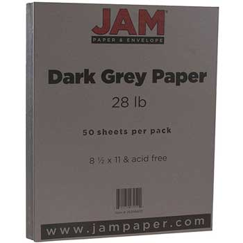 JAM Paper Matte Paper, 8.5 x 11, 28lb Dark Grey, 50/pack