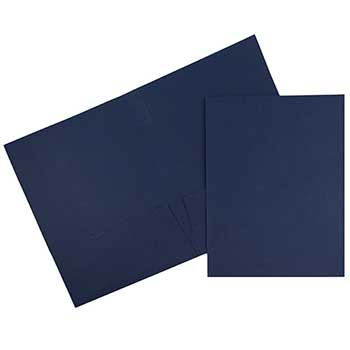 JAM Paper® Two Pocket Business Folders, Textured Linen, Navy Blue, 100/BX