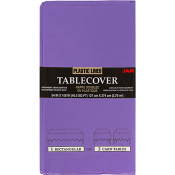 """JAM Paper Rectangular Paper Table Cover - Purple - 54"""" x 108"""" - Sold Individually"""