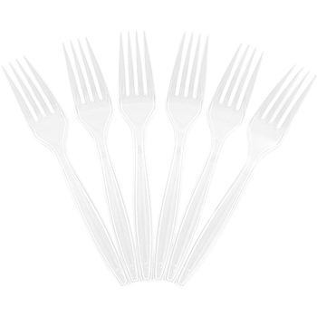 Big Party Pack of Premium Utensils - Plastic Forks - Clear - 100 Disposable Forks/Box