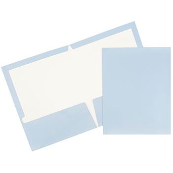 JAM Paper® Laminated Two-Pocket Glossy Folders, Baby Blue, 25/PK