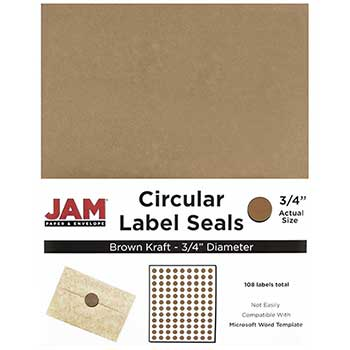 "JAM Paper Circle Label Sticker Seals, 3/4"" Diameter, Brown Kraft, 108 Labels"