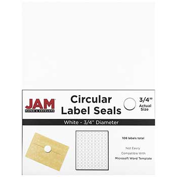 "JAM Paper® Circle Label Sticker Seals, 3/4"" Diameter, White, 108 Labels"