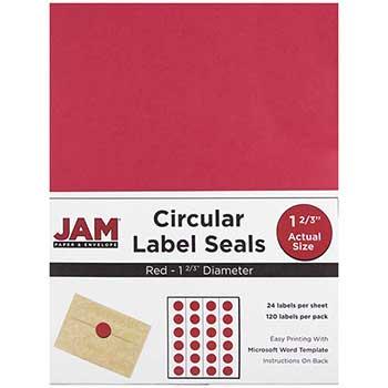 "JAM Paper® Circle Label Sticker Seals, 1 2/3"" Diameter, Red, 120 Labels"