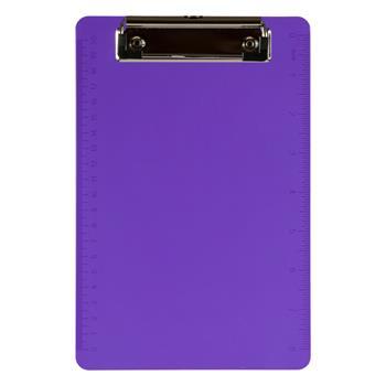 "JAM Paper Plastic Clipboards with Low Profile Metal Clip, 6"" x 9"", Purple, 12/BX"