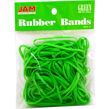 JAM Paper® Rubber Bands, Size 33, Green, 100/Pack