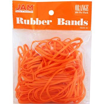 JAM Paper® Rubber Bands, Size 33, Orange, 100/Pack