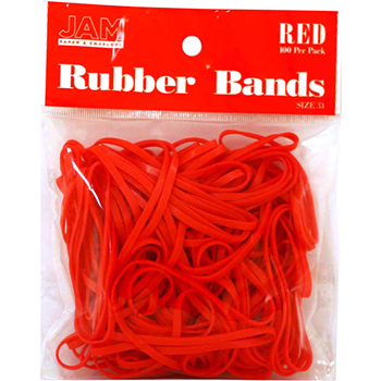 JAM Paper® Rubber Bands, Size 33, Red, 100/Pack