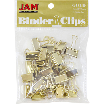 JAM Paper® Binder Clips, Small, 19mm, Gold, 25/Pack