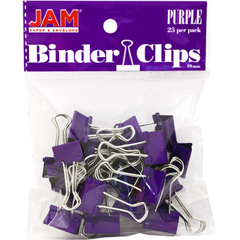 Binder Clips, Small 19mm, Purple, 25/Pack