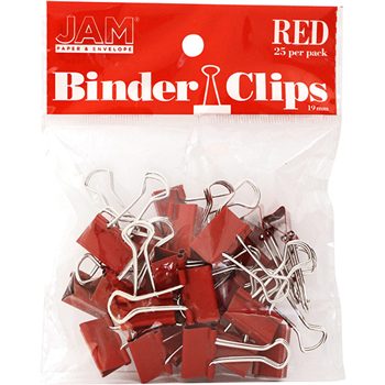 JAM Paper Binder Clips, Small 19mm, Red , 25/Pack