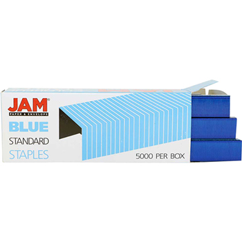 JAM Paper® Box of Staples, Standard Size, Blue, 5000/Pack