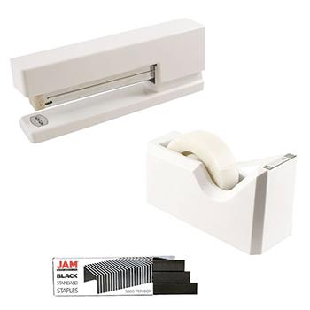 JAM Paper® Office & Desk Sets, White and Black, 3/PK